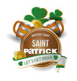 music day saint patrick let s get irish ribbon mug vector image
