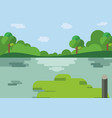 nature landscape cartoon design with lake vector image vector image