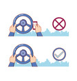 no texting while driving campaign vector image