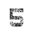number five symbol 5 textured font grunge design vector image vector image