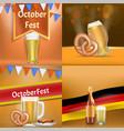 oktoberfest banner set realistic style vector image vector image