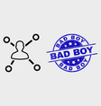 outline user links icon and grunge bad boy vector image vector image