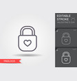 padlock with heart keyhole line icon vector image vector image