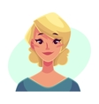 Pretty blond woman neutral facial expression vector image vector image