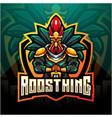 rooster king esport mascot logo design vector image vector image