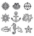 sea set sea and nautical decorations vector image vector image
