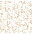 seamless pattern with gold blooming magnolia vector image vector image