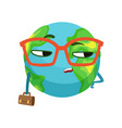 serious businessman earth planet character in vector image