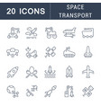 set line icons space transport vector image