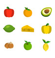 set of fruit and vegetables food icon cartoon vector image vector image