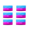 set of gift cards with a gradient background in vector image vector image