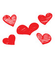 set of red hearts drawn with a marker vector image