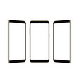 set of three frameless smartphones mock up vector image vector image