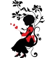 silhouette little girl with love letter vector image vector image