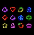 slot machine neon icons for casino gambling vector image