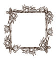 square frame made of branches with lush flowers vector image