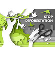 stop deforestation poster jungle animals looking vector image vector image