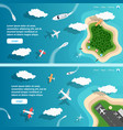 summer paradise island in ocean banner vector image
