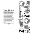 template with brass musical instrument vector image vector image