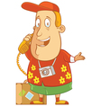 tourist on the phone vector image