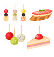 various meat canape snacks appetizer fish and vector image