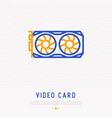 video card with cooler thin line icon vector image vector image