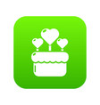 wedding cake icon green vector image