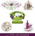 wine winemaking emblems vector image