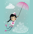 cute flying girl with umbrella vector image