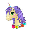 funny unicorn head vector image