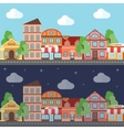 a town in night and day flat design vector image vector image