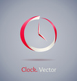 Abstract red clock symbol on gray background vector image vector image
