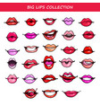 big lips set comic fashion emotions pop art vector image