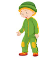 Boy in green jumpsuit and hat vector image vector image