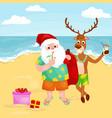 cartoon reindeer and santa claus in festive hat vector image vector image
