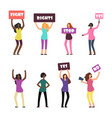 cartoon women protesters feminism womens rights vector image vector image