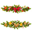 christmas fir decoration with garland vector image vector image