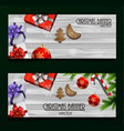 christmas new year web banner set vector image vector image