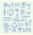 cinema doodle icons vector image vector image