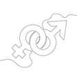 continuous one line drawn gender symbols vector image