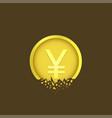 cracked yen coin vector image vector image