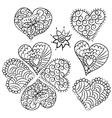 Cute heart Valentin doodle set vector image vector image