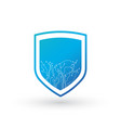 cyber security concept shield on circuit board vector image vector image