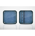 Denim application icons texture jeans vector image vector image