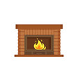 fireplace with metal frame construction of brick vector image vector image