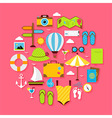 Flat Summer Holiday Objects Set vector image vector image
