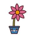 flower in vase kawaii cute cartoon vector image vector image