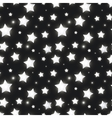 glossy silver stars in dark seamless pattern vector image vector image