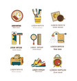 good morning thin line icon set vector image