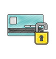 grated finance credit card with padlock open vector image vector image